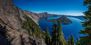Crater lake and surrounding areas Royalty Free Stock Photos