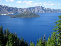 Crater lake. Tree trail woods forest Royalty Free Stock Photos