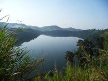 Crater lake Uganda. Volcanic crater lake in Uganda stock photo