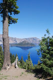 Crater Lake View from Lower Hiking Trail Royalty Free Stock Photography