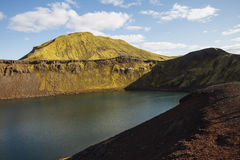 Crater lake, volcanic landscape. Iceland Stock Photography
