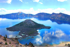 Crater Lake. Water reflects the sky at Crater Lake in Oregon Stock Images