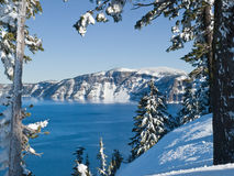 Crater Lake in winter Royalty Free Stock Image