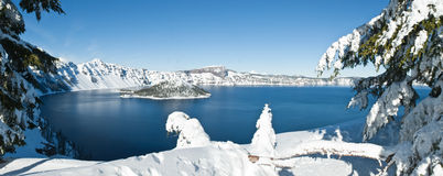 Crater Lake in winter - panorama Stock Image