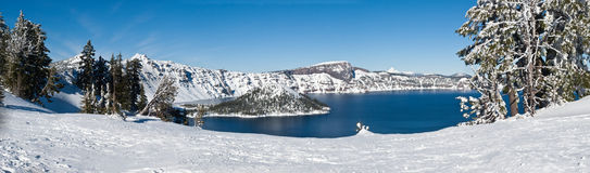 Crater Lake in winter - panorama Royalty Free Stock Photography