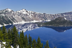 Crater Lake and Wizard Island. Reflections of the rim and Wizard Island in Crater Lake, Oregon Royalty Free Stock Photos