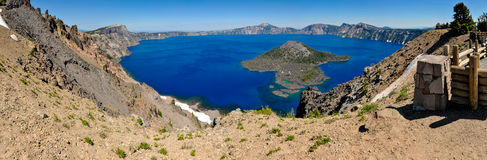 Crater Lake and Wizard Island Panorama Royalty Free Stock Photography