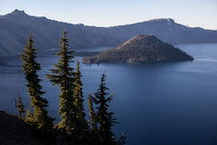 Crater Lake and Wizard Island Stock Photography
