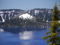 Crater Lake and Wizard Island. Possibly the clearest and bluest natural water anywhere stock photo