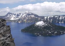Crater Lake and Wizard Island. Possibly the clearest and bluest natural water anywhere royalty free stock photo