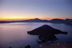 Crater Lake Wizard Island Sunrise Oregon Stock Image