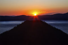Crater Lake Wizard Island Sunrise Oregon Stock Photography