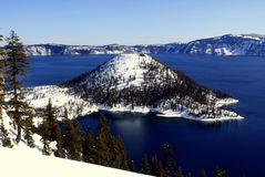 Crater Lake Wizard Island in Winter Stock Images