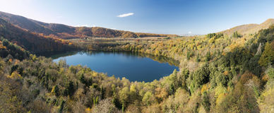 Crater lakes. View from above of the two volcanic lakes of Monticchio in Basilicata regio, southern Italy Royalty Free Stock Photo