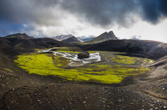 Crater. Landscape of Iceland. Stream of water inside a crater Royalty Free Stock Photos