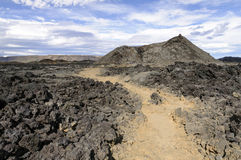 Crater and lava field in Krafla caldera Stock Image