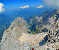 Crater. Looking down from top of the Zugspitze mountain in Germany royalty free stock image