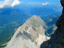 Crater. Looking down from top of the Zugspitze mountain in Germany stock photos