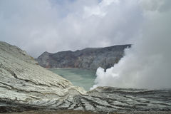 The crater from Mount Idjen Stock Photography