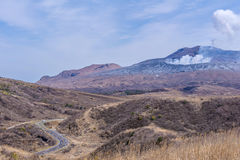 Crater of Mount Naka or Aso Mountain is the largest active volca Royalty Free Stock Image
