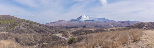 Crater of Mount Naka or Aso Mountain is the largest active volca Stock Image