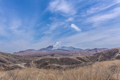 Crater of Mount Naka or Aso Mountain is the largest active volca Royalty Free Stock Images