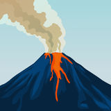 Crater mountain volcano hot natural eruption. Smoke. Fire. Crater mountain volcano hot natural eruption. Blue volcano. Dangerous phenomenon. Vector illustration Stock Images