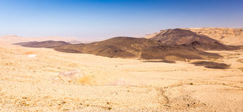 Crater mountains basalt desert rock landscape Middle East scenic Royalty Free Stock Photography