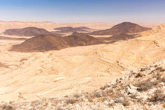 Crater mountains stone desert landscape Middle East nature sceni Royalty Free Stock Photos