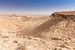 Crater mountains stone desert landscape Middle East nature sceni Royalty Free Stock Photo