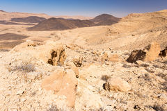 Crater mountains stone desert landscape Middle East nature sceni Stock Photo