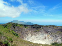 Crater and mountains of Tomohon city Indonesia royalty free stock photo