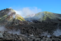 The crater of Mt Etna. View into the crater of Mount Etna from the rim of the volcano Stock Photos