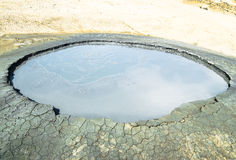 Crater of mud volcano Stock Photos