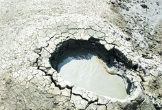 Crater of a mud volcano Royalty Free Stock Photo
