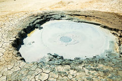 Crater of a mud volcano Stock Photos