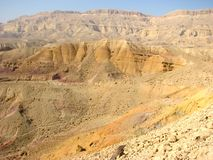 Crater in Negev desert Stock Images