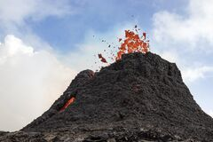 Free Crater Of The Volcano. Volcano Eruption At Fagradalsfjall, Iceland Stock Photo - 214230660