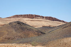 Crater Ramon in Negev desert. Prism Canyon from basalt stone in Ramon crater, Negev desert in Israel stock images