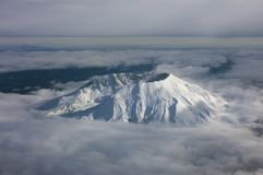 Crater rim. Aerial view of mt. st. helens in washington with steam coming out of vent, camera d-100, 300dpi stock image