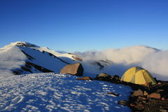 Crater Rim camp. Campsite on the crater rim of Mt. Ruapehu New Zealand Royalty Free Stock Photography