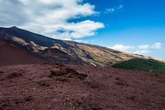 Crater Silvestri Etna. In Sicily in Italy royalty free stock photos