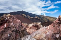 Crater Silvestri Etna. In Sicily in Italy stock photo