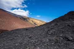 Crater Silvestri Etna. In Sicily in Italy royalty free stock photo