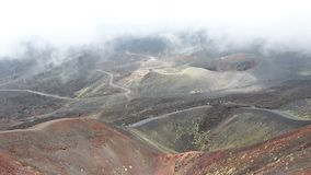 Crater Silvestri Superiori on Mount Etna, Sicily, Italy. Panoramic view of Crater Silvestri Superiori 2001m on Mount Etna, Etna national park, Sicily, Italy stock footage