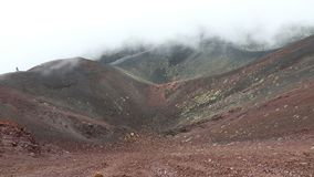Crater Silvestri Superiori on Mount Etna, Sicily, Italy. Panoramic view of Crater Silvestri Superiori 2001m on Mount Etna, Etna national park, Sicily, Italy stock video footage
