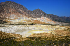 Crater Stefanos on island Nissyros. View on great sulfuric volcano (Stefanos) on Nisyros island, Greece Stock Image