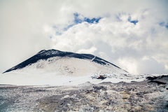 Crater on the top of Etna in spring Royalty Free Stock Photos