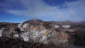 Crater on top of Mount Fuji, Japan. stock footage