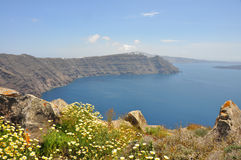Crater view on greek island santorini Stock Photo